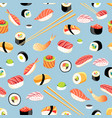 seamless bright pattern with different sushi vector image