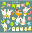 set cute cartoon easter rabbits and chickens vector image vector image