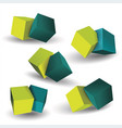 set of blue and green 3d cubes structure vector image