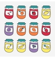 Set of doodle jars with jam Hand-drawn vector image