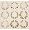 Set of gold laurel wreaths vector image vector image