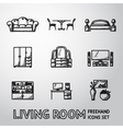 Set of Living Room freehand icons - sofa dining vector image vector image