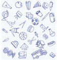 set of secondary school icons in doodle style vector image vector image