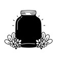 silhouette middle mason glass with flowers and vector image vector image