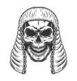 skull in the judge wig vector image vector image