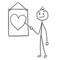 stickman cartoon of men pointing at sign with vector image