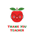 thank you teachers day card with a cartoon red vector image