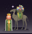 three kings day with king caspar camel and gifts vector image