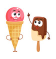 two funny ice cream characters - strawberry cone vector image vector image