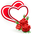 Two hearts and rose vector image vector image
