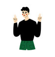 young man making peace and love signs gestures vector image vector image