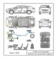 car sedan interior parts engine seats dashboard vector image