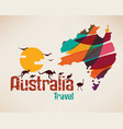 australia travel map decrative symbol of vector image vector image