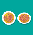 bacon apple pie on white plate top view vector image vector image