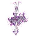 ballerina with floral ornament dress vector image vector image