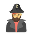 bearded pirate in dark clothes vector image vector image