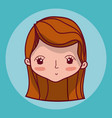 beautiful girl face cartoon vector image vector image