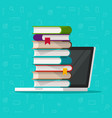 books stack on laptop computer vector image vector image