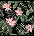 botanical seamless pattern green leaves pink vector image vector image