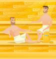 caucasian men relaxing in sauna vector image