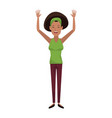 character woman female waving hand happiness vector image vector image