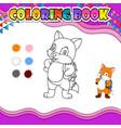 coloring book fox go to school vector image vector image