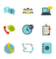 customer service icons set flat style vector image vector image