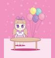 cute kawaii girl with balloons helium character vector image
