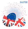 easter brexit eggs on star burst background vector image vector image