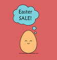easter sale the egg with talk cloud vector image vector image