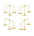 Gold justice scales set isolated on white vector image vector image
