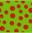 green seamless pattern with tomatoes vector image vector image
