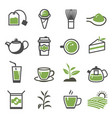 green tea teapot sprout cup teabag glass vector image