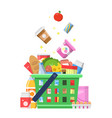 grocery basket with food sausage milk fruit wine vector image vector image