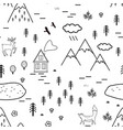 hand drawn scandinavian landscape with animals vector image vector image