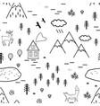 hand drawn scandinavian landscape with animals vector image