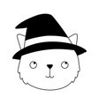 happy halloween cute face cat with hat costume vector image