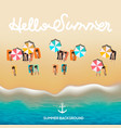 hello summer poster beach with waves umbrellas vector image vector image