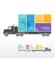 infographic Template with Container truck banner vector image vector image