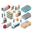 isometric warehouse logistic icon set vector image vector image