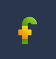 Letter F cross plus logo icon design template vector image vector image