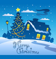 merry christmas evening scene 2 vector image