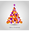 Merry christmas tree greeting card vector image vector image