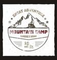mountain camp poster outdoor adventures logo vector image