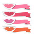 mouth and shades of lipstick with ribbons vector image