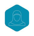 muslim woman icon outline style vector image