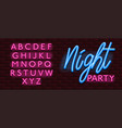 neon banner alphabet font bricks wall night party vector image vector image