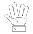 opened palm icon outline style vector image vector image