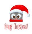 owl in the santa claus hat and scarf postcard for vector image