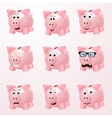 Piggy bank emotions vector image vector image